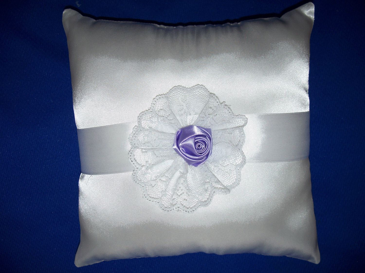 """White Wedding  Satin Ring Bearer Pillow  With White Satin Ribbon And Lavendar  Rosette (9"""" X 9"""") by SewUniqueShop on Etsy"""