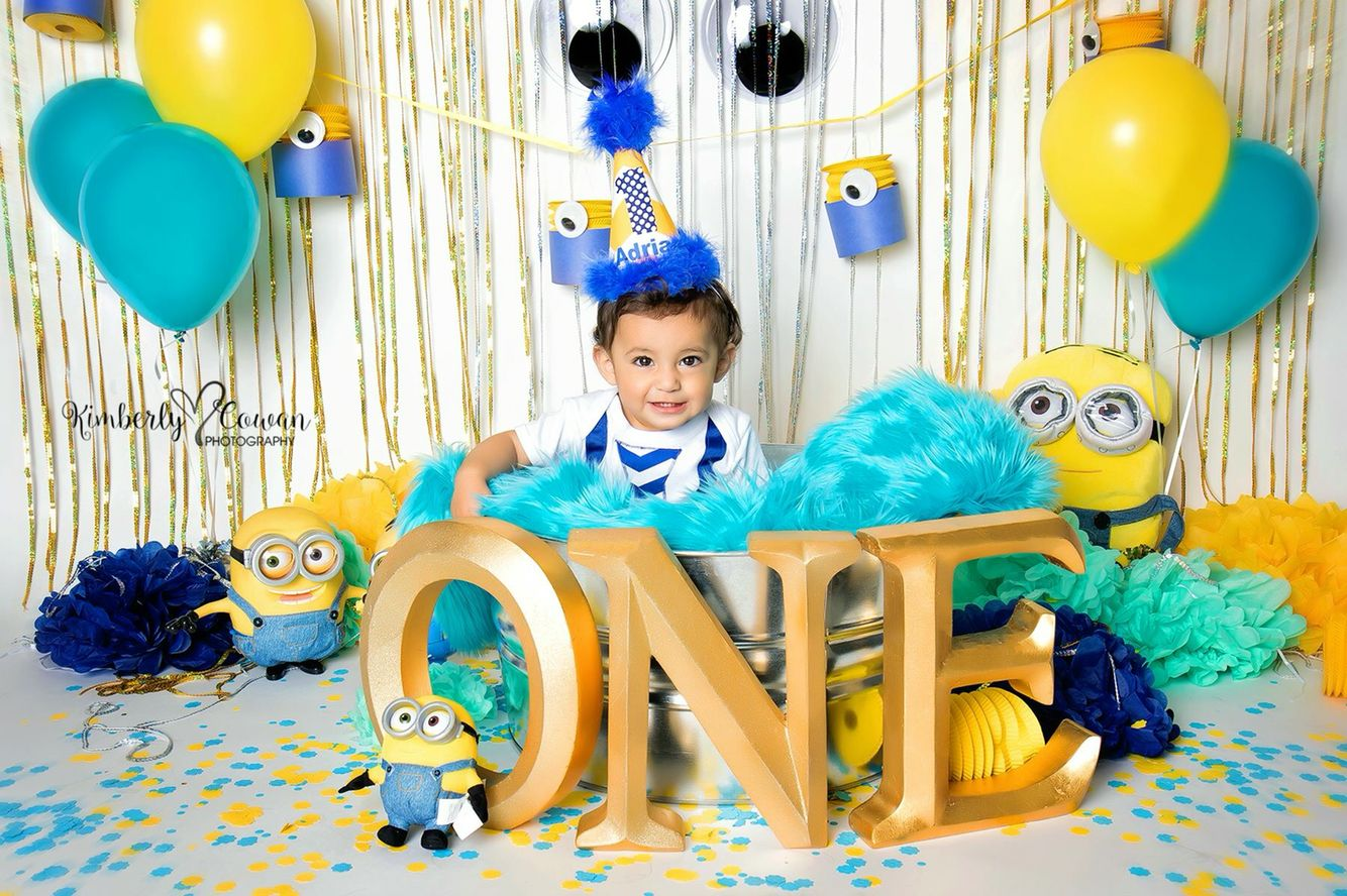 Minion One Year Old Birthday Photography Cake Smash Minions Theme Boy First