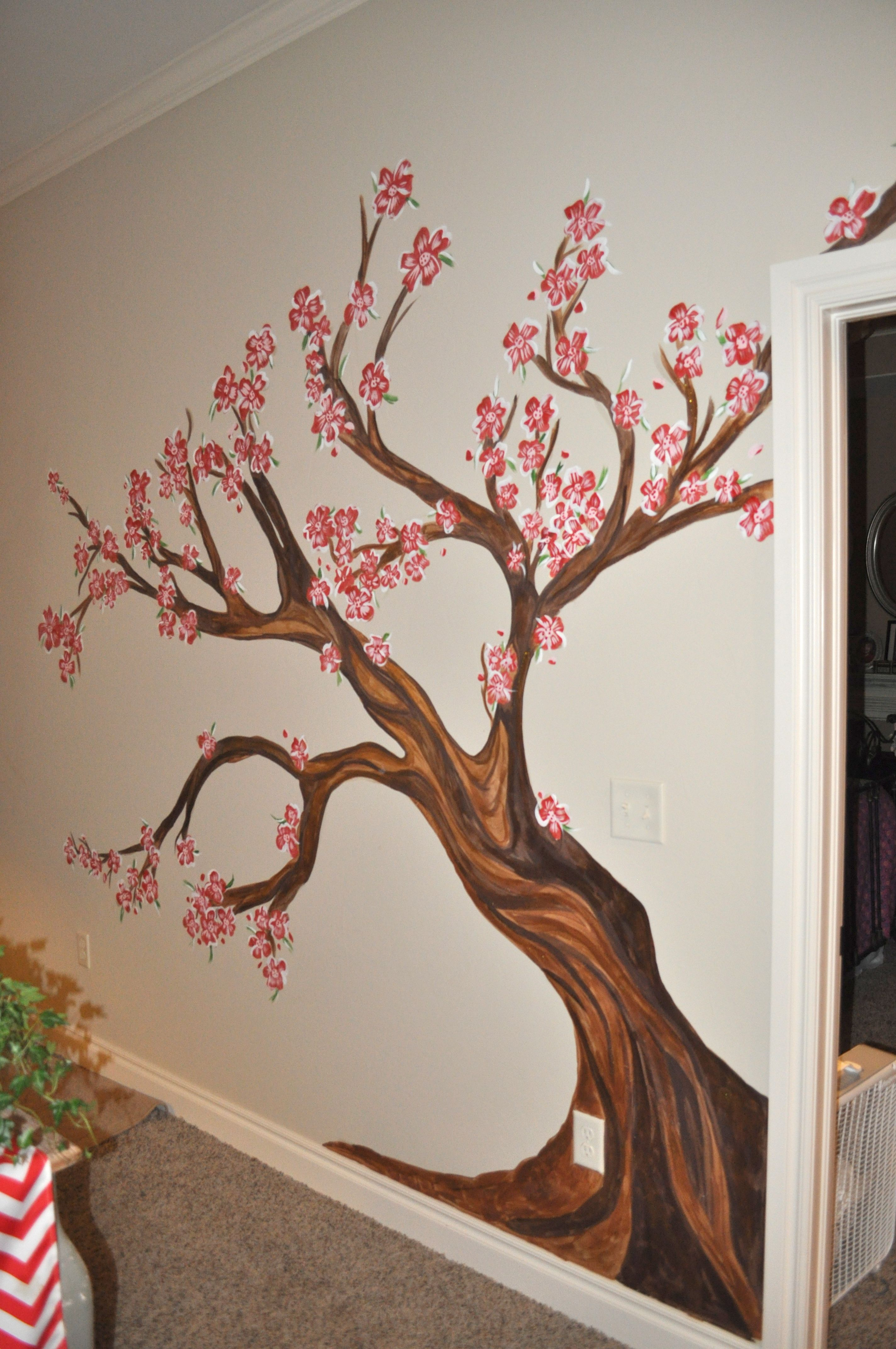 Cherry Blosson Tree In Living Room Mural By Sharon Mcbride Of All That Nonsense Tree Wall Painting Room Wall Painting Wall Paint Designs
