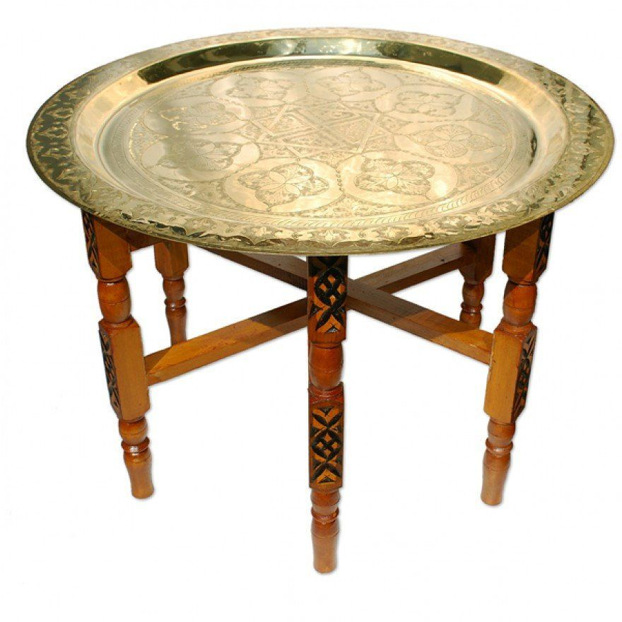 Moroccan Brass Trays Traditionally Used In Morocco As Dining