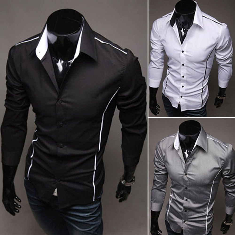 New mens luxury casual shirt dress shirt slim fit long sleeve