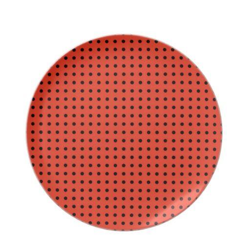 Orange and Black Polka Dot Pattern Plates