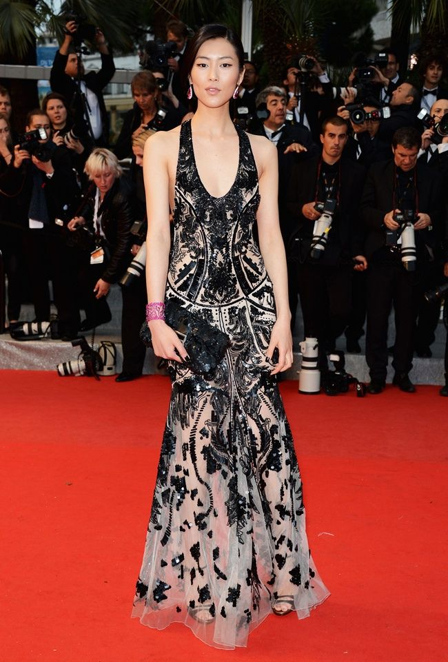 Liu Wen in Roberto Cavalli     Liu Wen looked nothing short of lovely in another Roberto Cavalli gown at the red carpet premiere of the film Amour.