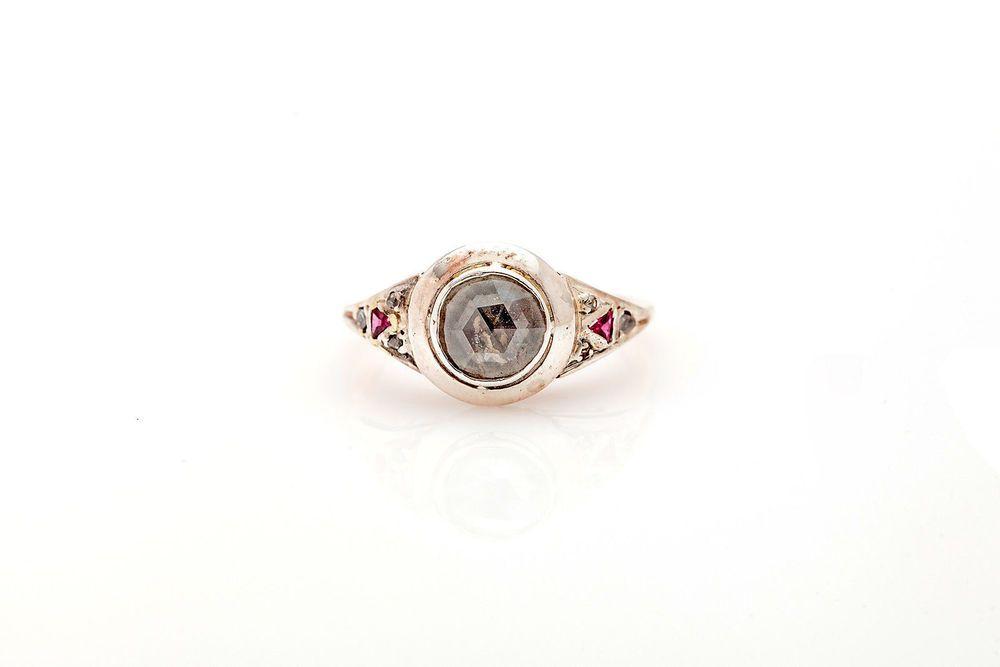 Antique 1850s $5000 18k Yellow Gold 1ct Old Mine Cut Diamond RUBY Filigree Ring