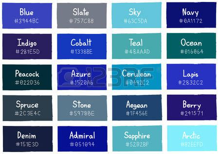 Blue Tone Color Shade Background With Code And Name Ilration