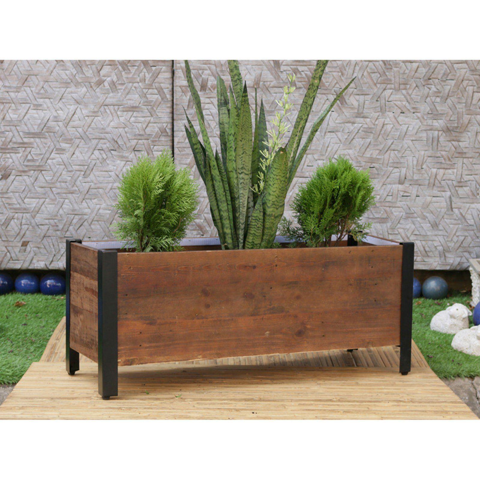 Grapevine Rectangular Urban Garden Wooden Planter Box  Walmartcom #Urbangardening