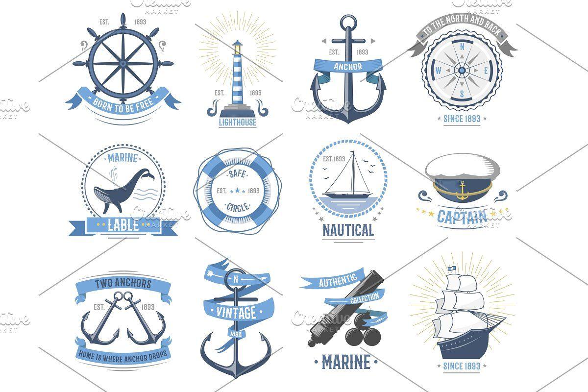Sea Nautical Vector Old Rettro Badge In