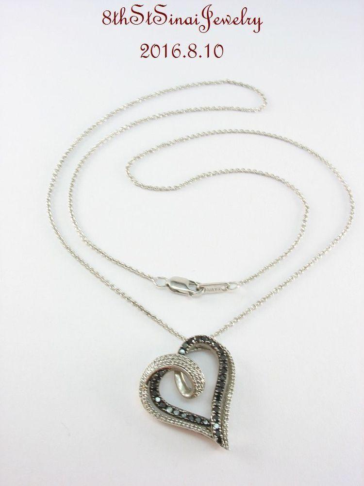 51c56cbb3 JWBR Verigold Sterling Silver 925 Black & White DIAMOND Heart Pendant 18