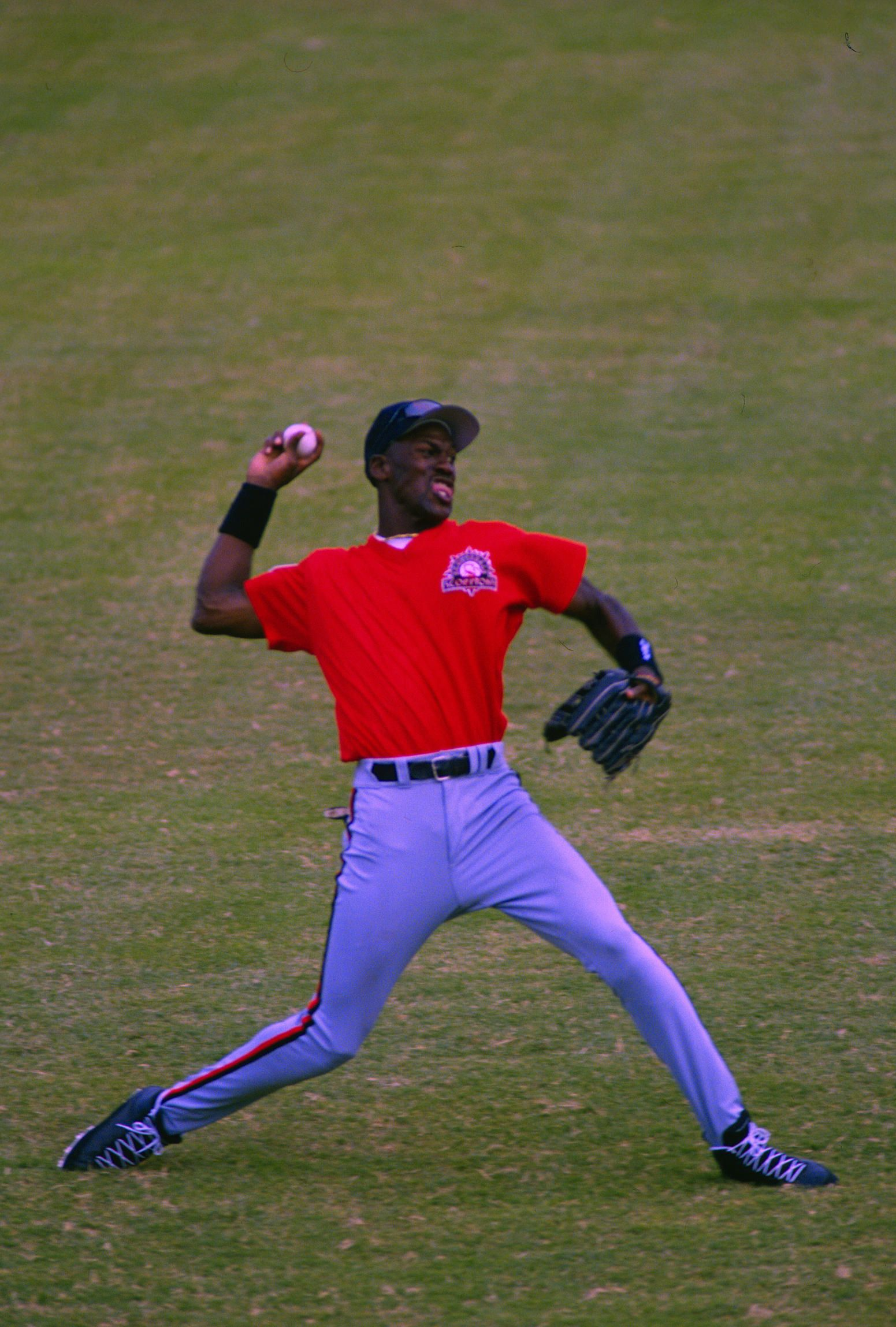 wholesale dealer 6ebdd 7aae9 Michael Jordan  45 of the Birmingham Barons the Double A minor league  affiliate of the Chicago White Sox throws the ball back in from the ou.