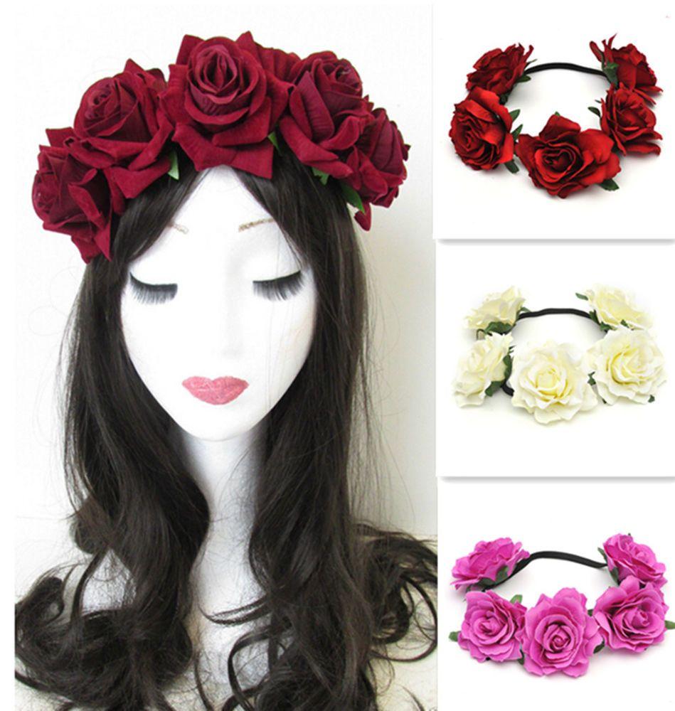Wedding Hairstyles Drawing: Fashion Rose Flower Headband Hair Crown Festival Wedding