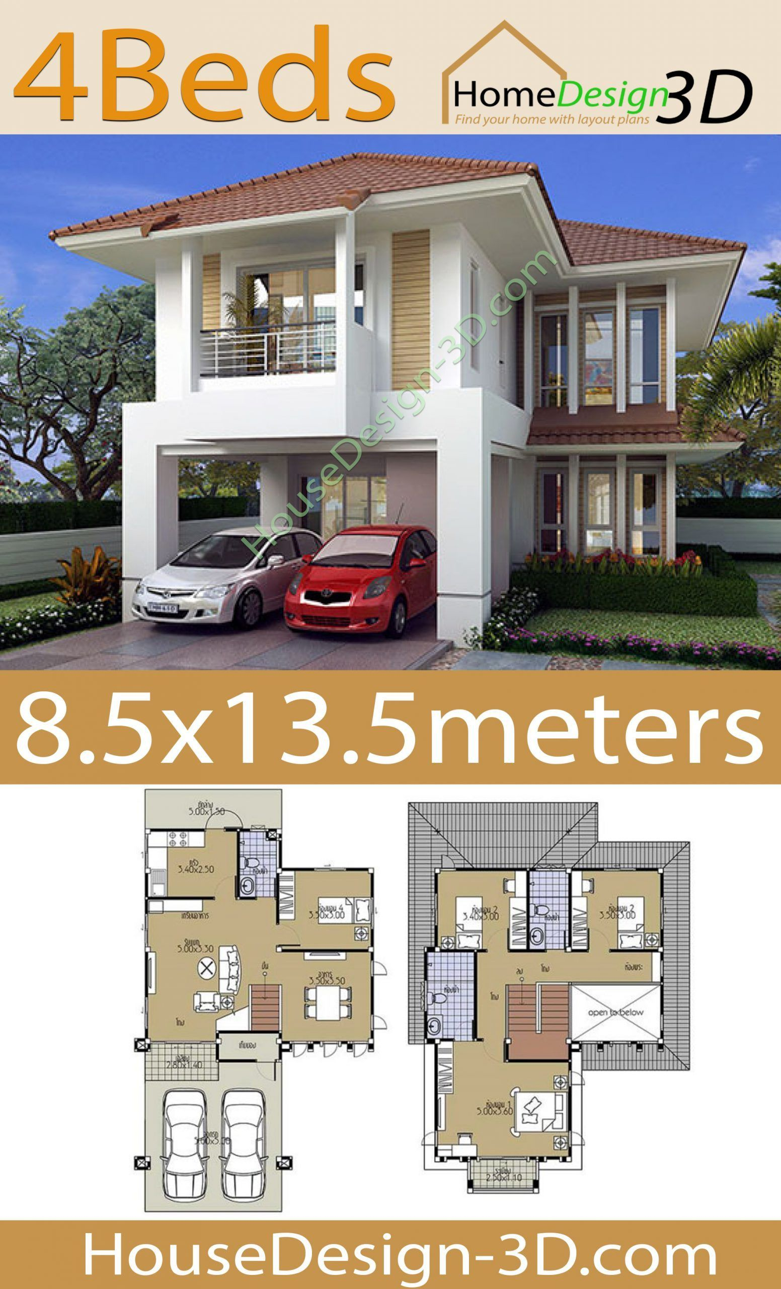 House Design 3d 8 5x13 5 With 4 Bedrooms Tiny House Design 3d In 2020 House Layouts House Design Tiny House Design