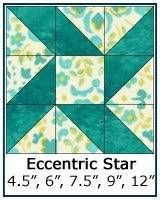 Eccentric Star Quilt Block: 4-1/2, 6, 9 and 12