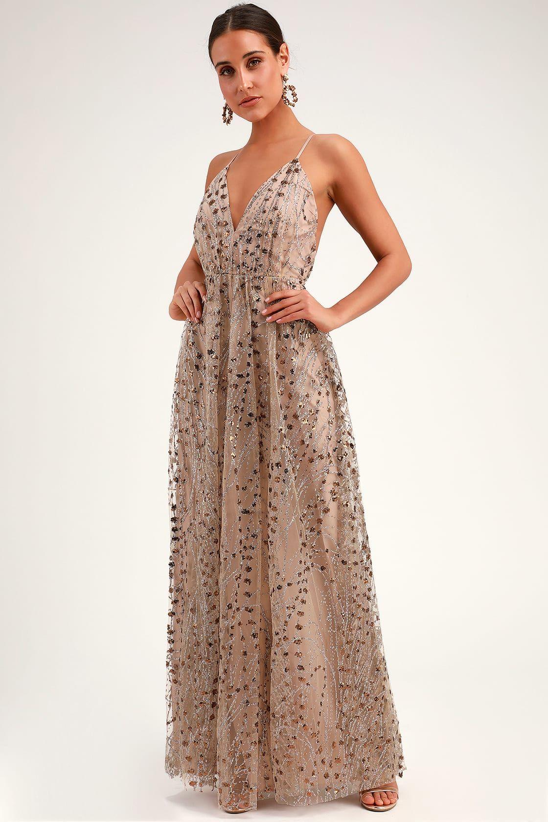 Luminous Night Taupe Glitter Sequin Maxi Dress Sequin Maxi Dress Maxi Dress Lace Maxi Dress