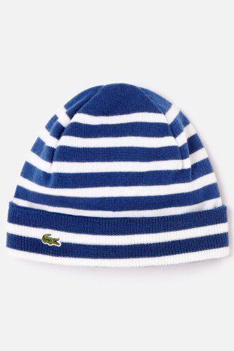 49ac17c7aeb78 Lacoste Mens Wool Jersey Stripe Knit Hat Striped Knit