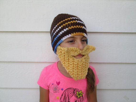 Knit Childrens beard hat long beard hat Beard by Ritaknitsall #crochetedbeards