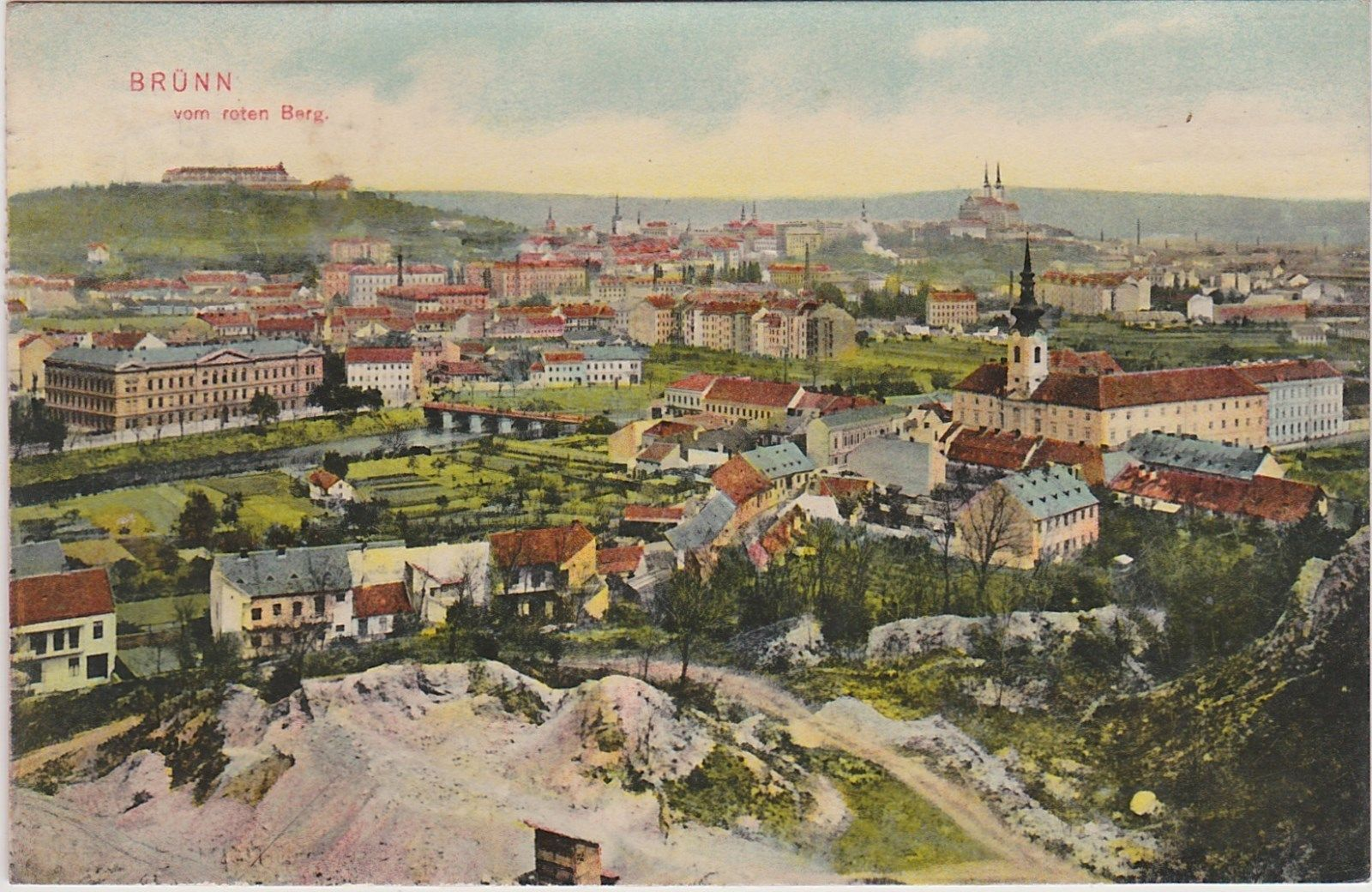 Brünn vom Roten Berg, Brno, Stadtansicht, 1909, PREIS gesenkt!!! (95)