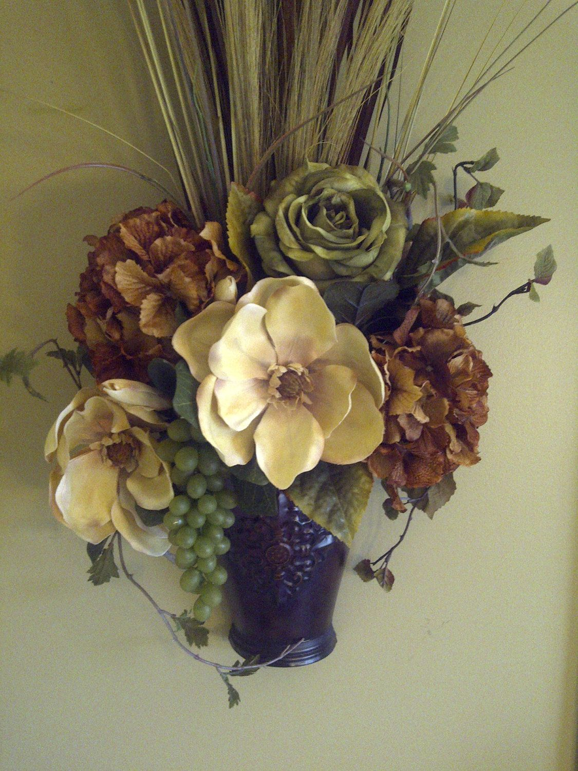 RESERVED FOR HEATHER Magnolia Hydrangea Grapes and Dried ... on Pocket Wall Sconce For Flowers id=47866