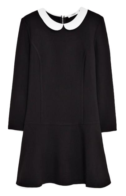 b0798baa858 robe noir à col claudine blanc à manche longue