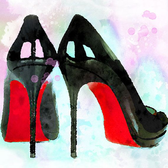 Items similar to High Heel Shoes Louboutin Watercolor Giclee Print, Red  Soles, Fashion Art High Heel Shoes Illustration, Fashion Art on Etsy