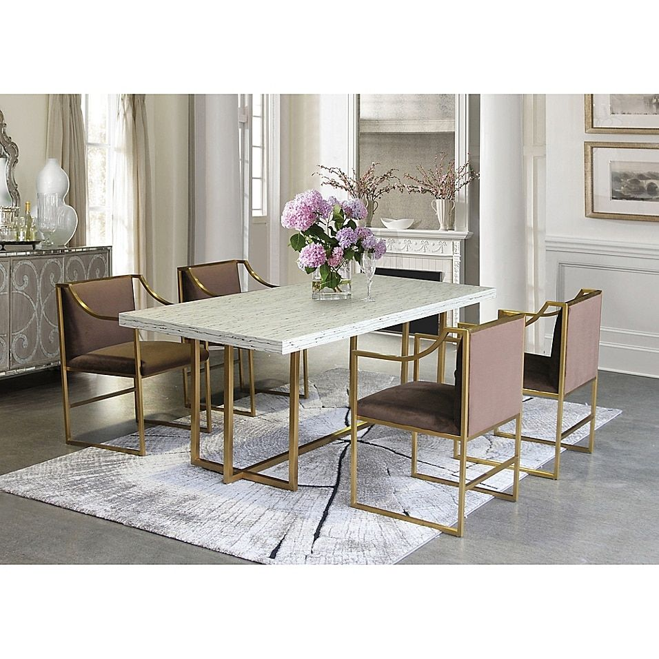 Armen Living Wood Metal Upholstered Seville Dining Chair Bed Bath Beyond Dining Table Gold Gold Dining Room Dining Chairs
