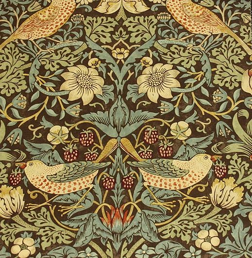 Strawberry Thief Cotton Fabric William morris wallpaper