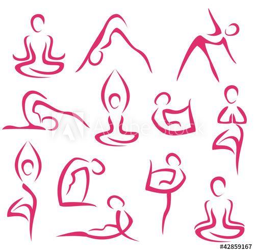 Big Set Of Yoga Symbols Stahl Sport Zeichnungen Yoga Und Yoga