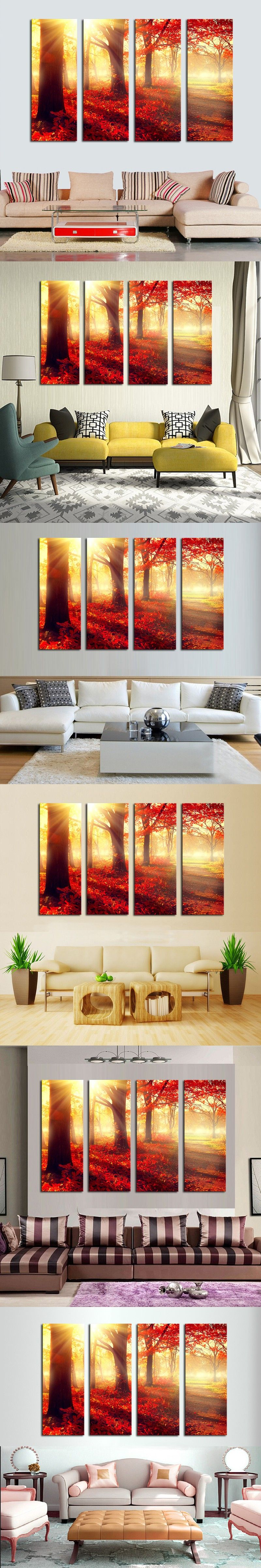 Red trees wall art picture modern home decoration living room or