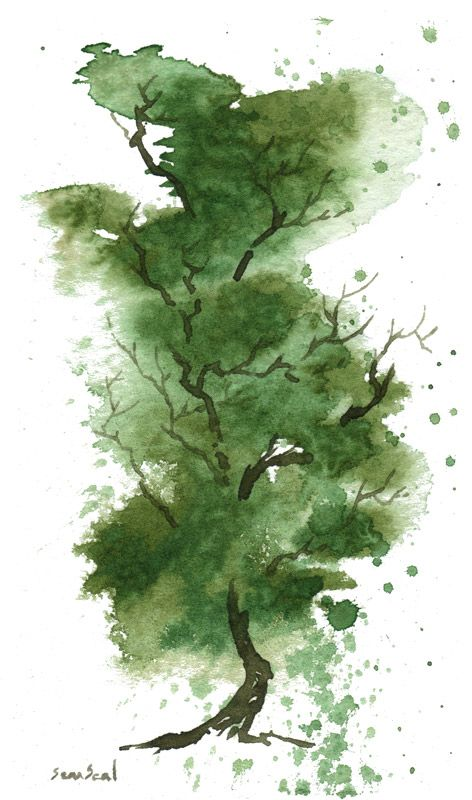 Watercolor Tree Wasserfarben Landschaften Baumbilder Baumkunst