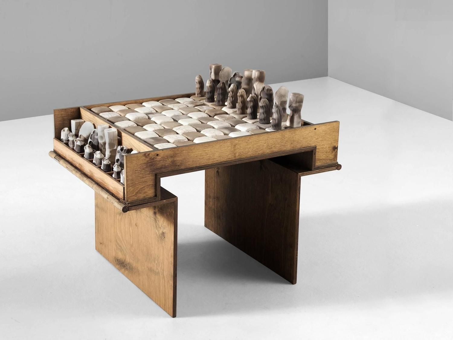 Exceptional Ceramic Chess Set and Table 2