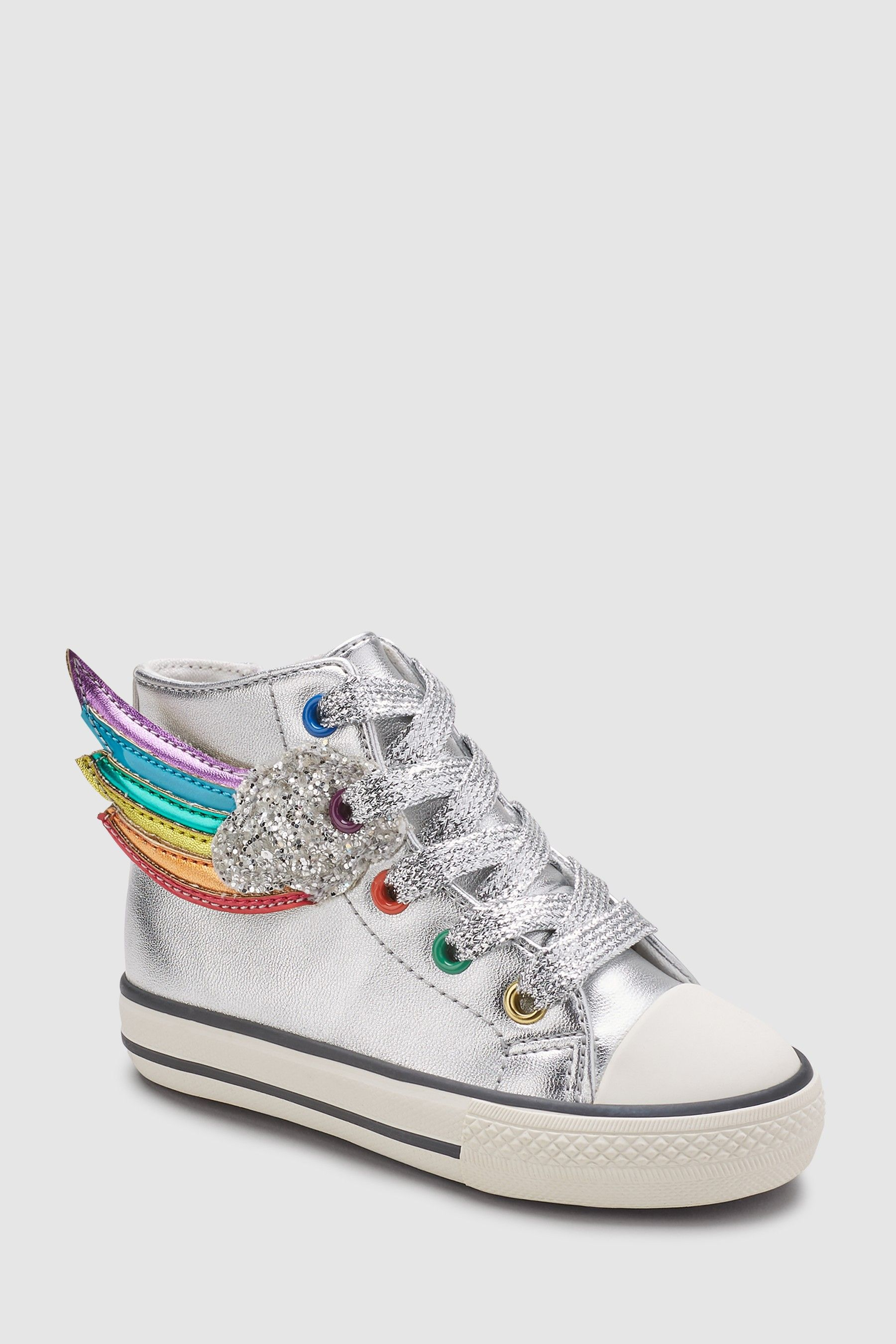 Girls Next Silver Rainbow High Top Trainers (Younger) - Silver ... 6bd105e6c