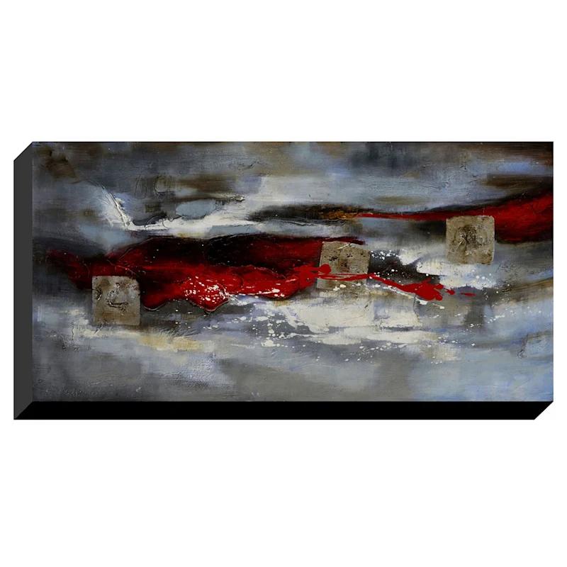 28x60 Red Streak Enhanced Canvas Art Red Streaks Large Canvas Art