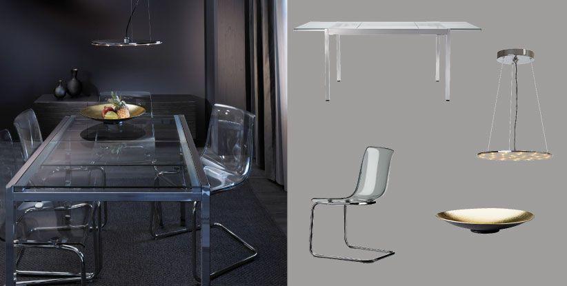 glivarp ausziehtisch verchromt geh rtetes glas f r 4 6 personen mit tobias st hlen aus. Black Bedroom Furniture Sets. Home Design Ideas