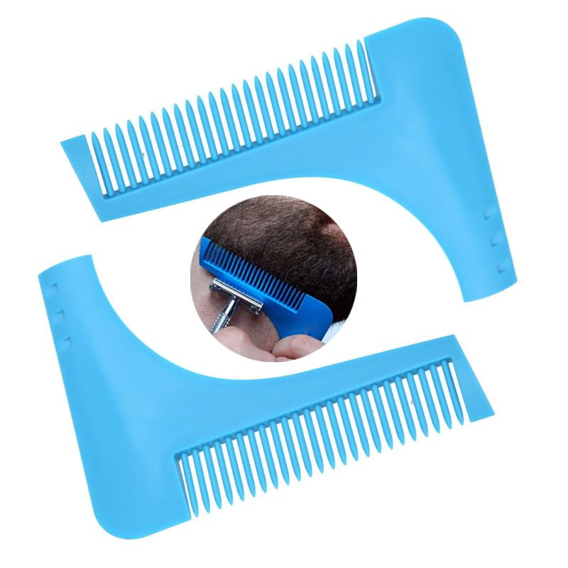 Beard shaping tool template comb for perfect lines and