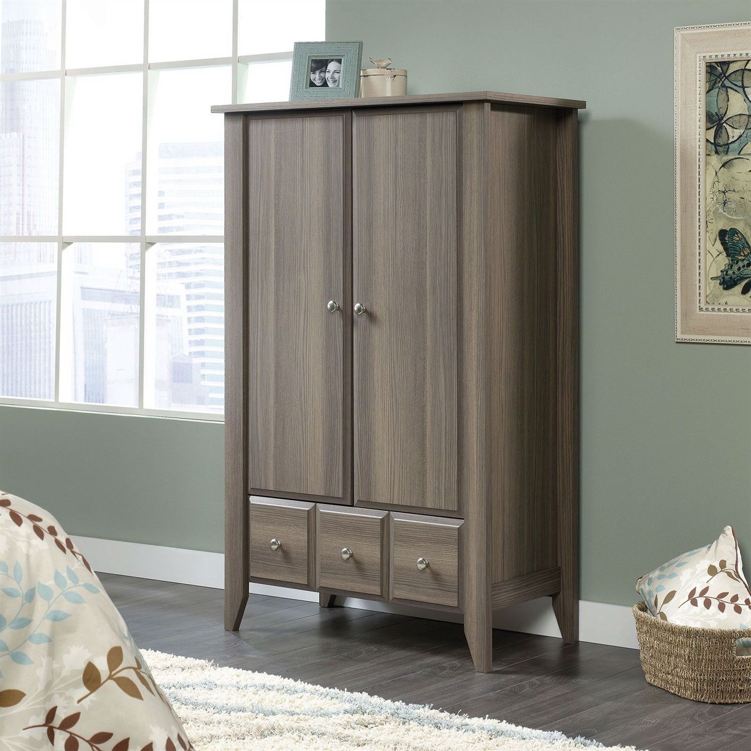 Keep Your Wardrobe Organized And Stored Properly With This Bedroom Wardrobe  Armoire Storage Cabinet In Ash Wood Finish. Featuring One Large Bottom  Drawer ...