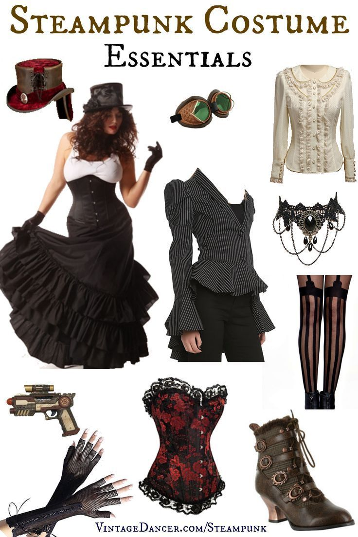 Create a Steampunk Costume quickly with these essential costume pieces. Steampunk hat, skirt, goggles, blouse, boots, stockings, jacket, and jewelry.