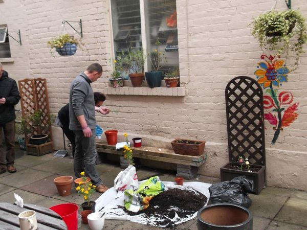 Our Garden Group has certainly been busy in Worcester. Here's a photo of them sprucing up our office's garden at Castle House.