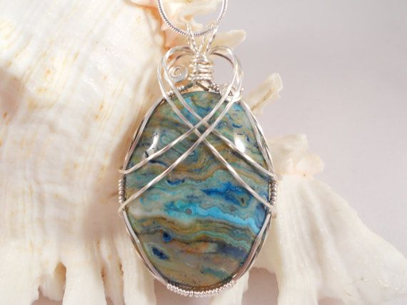 Mexican Lace Agate Wire Wrapped Pendant by elainesgems on Etsy, $27.00