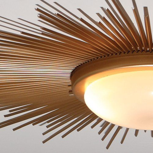 Sunburst Gold Modern / Contemporary Flush Mount Ceiling Light ...:Global Views Sunburst Gold Modern / Contemporary Flush Mount Ceiling Light  -Close up of Inspiration Lighting Fixture: Height: Deep Width / Diameter: D  ...,Lighting