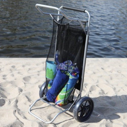Beach Cart Convertible to a Table with Drink Holders and Mesh Storage *** You can get more details by clicking on the image.