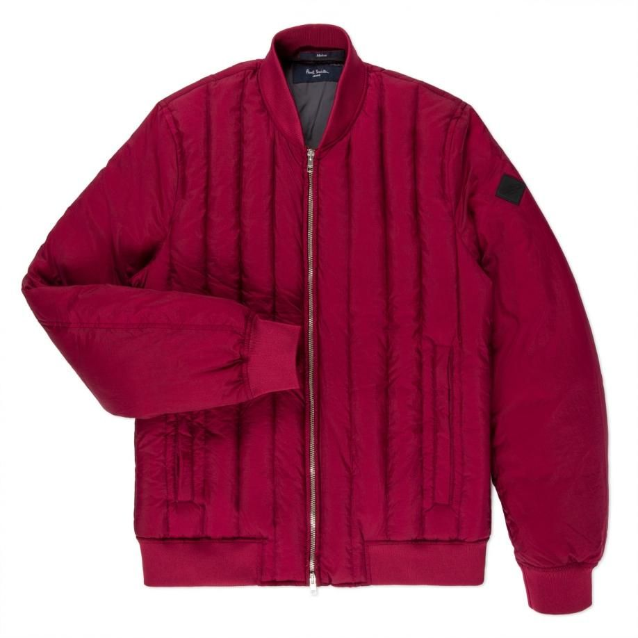 Paul Smith Men's Burgundy Down-Filled Quilted Bomber Jacket