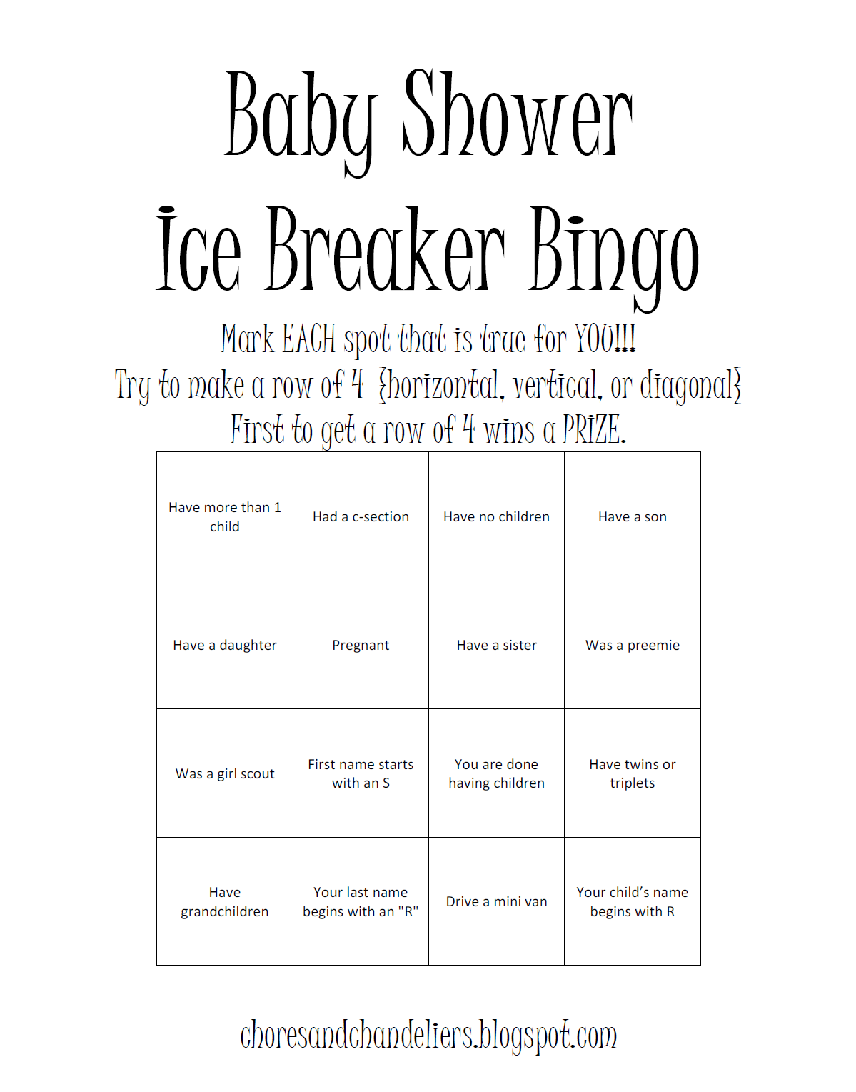 Baby shower game cool for when you 39 re having guests that for Ice breaker bingo template