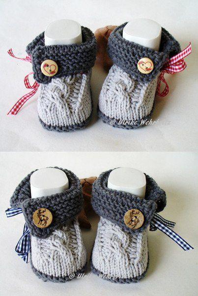 Photo of Gestrickte und gehäkelte Schuhe – Babyschuhe Trachten Twins – ein Designerprodukt aus …