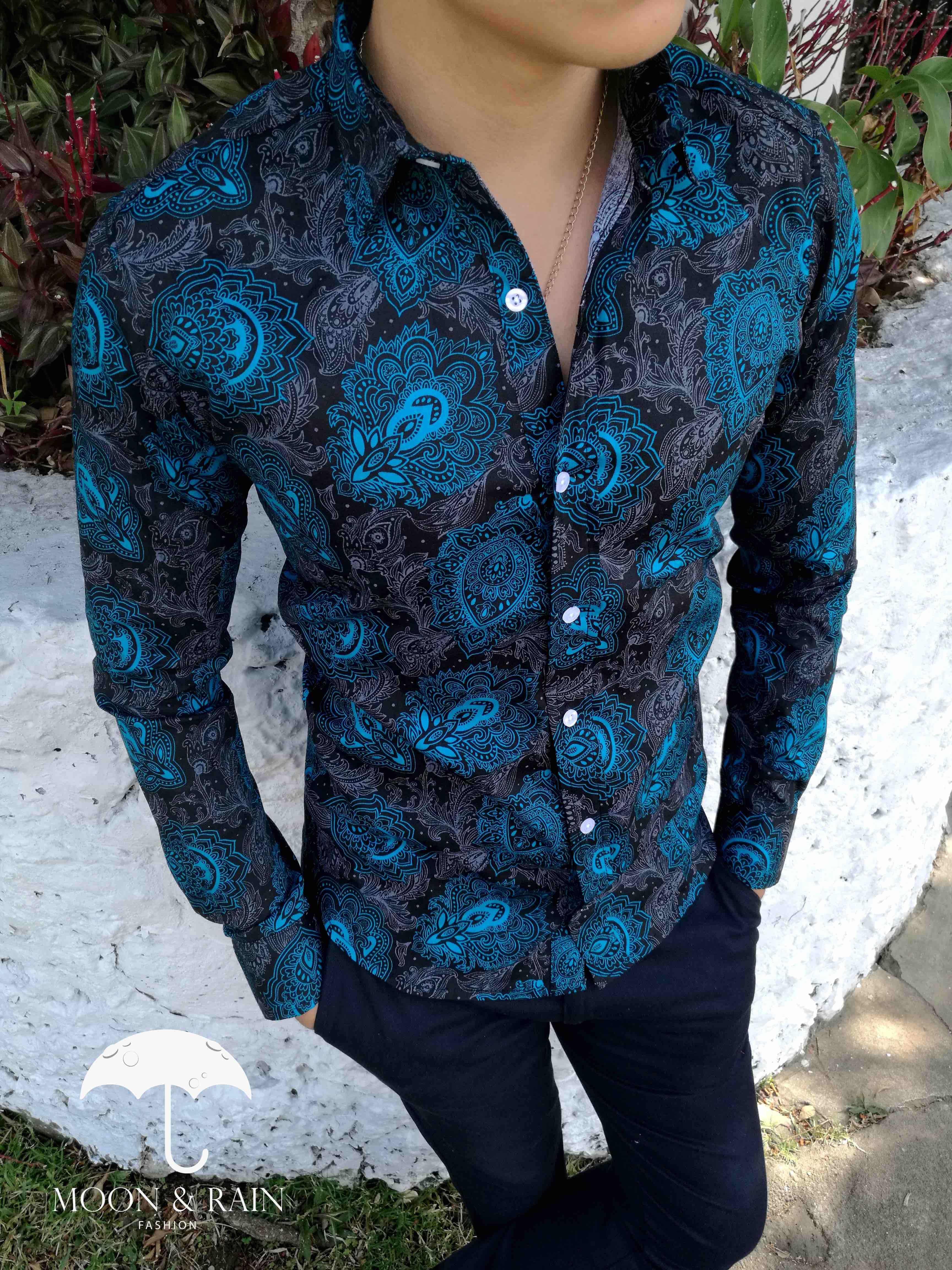 Camisa Negra De Flores Aqua Para Hombre Tiendas Platino Moda Ropa Hombre Ropa Casual Hombres Ropa De Moda Hombre