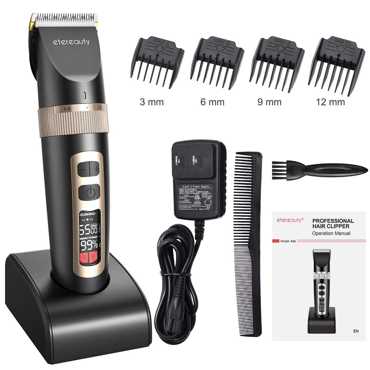 Hair Clippers for Men ETEREAUTY Pro Cordless Hair Trimmer