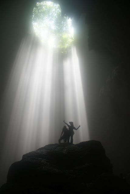 Goa Jomblang (vertical cave and primeval forest) at Wonosari, Yogyakarta - Indonesia.