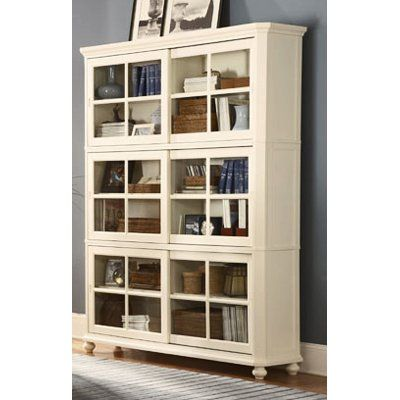Homelegance Stackable Wood Bookcase With Sliding Door