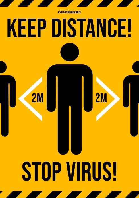 A4 Laminated Safety Poster Awareness Sign Corona 19 Two Metres Apart