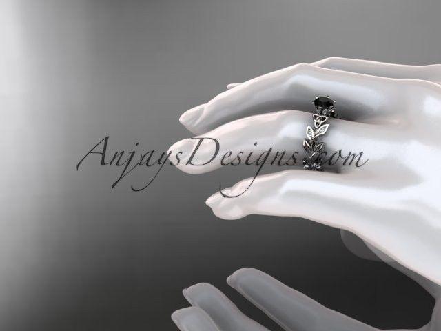 platinum diamond celtic trinity knot wedding ring, bridal ring with a Black Diamond center stone CT7124