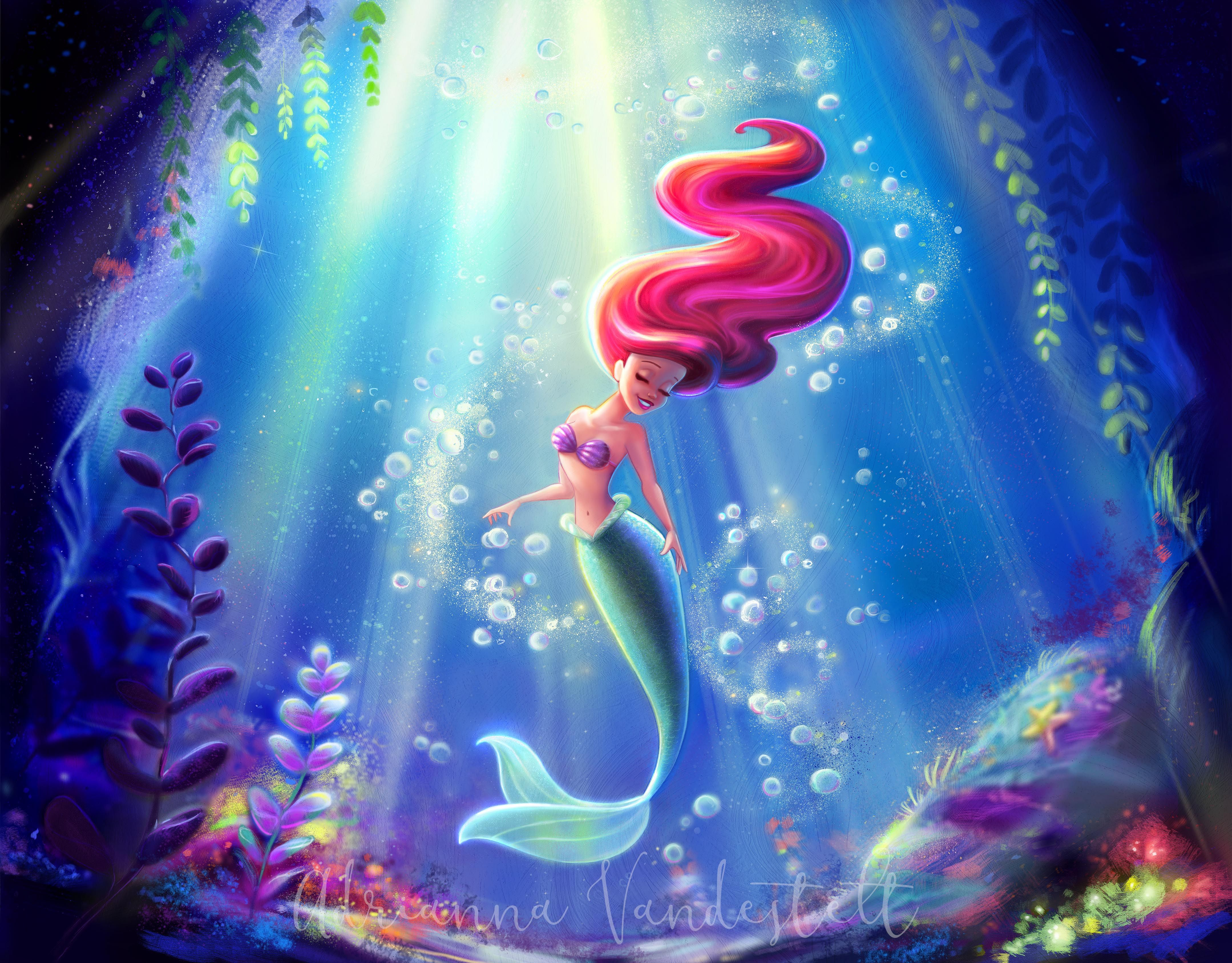 Life Is The Bubble Mermaid Wallpapers Little Mermaid Wallpaper Disney Fine Art
