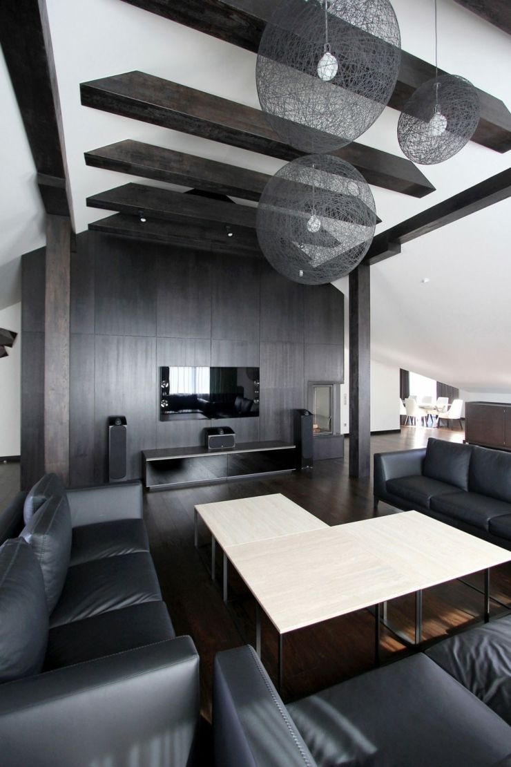 Appartement moderne am nag dans les combles d un immeuble for Design interieur salon